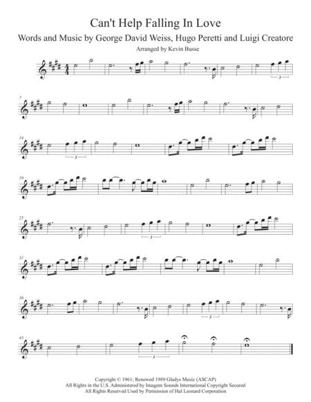 Can't Help Falling In Love (Original key) - Tenor Sax