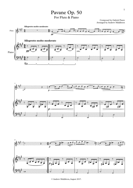 Pavane, Op. 50 for Flute and Piano
