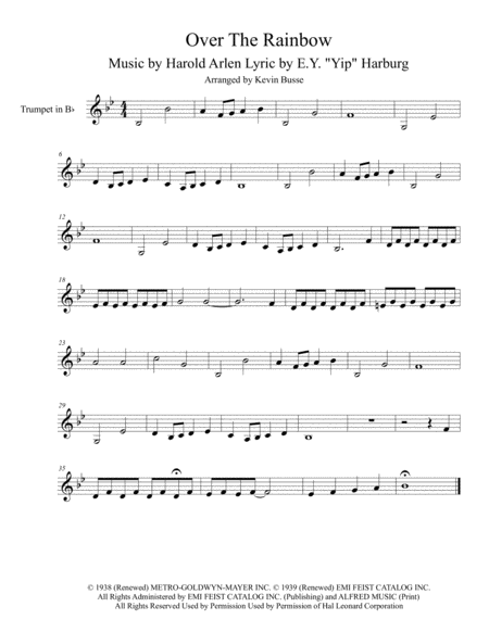 Somewhere Over The Rainbow (Original key) - Trumpet