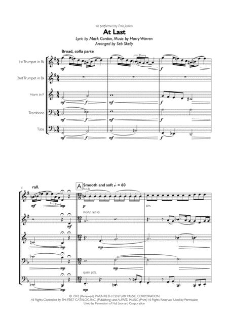 Etta James - At Last for Brass Quintet