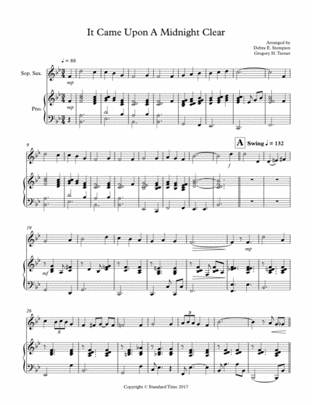 It Came Upon A Midnight Clear for Soprano Sax or Clarinet Solo with Piano Accompaniment (Jazz Waltz)