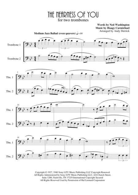 The Nearness Of You for trombone duet