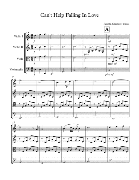 Can't Help Falling In Love (Score and String Quartet Parts)
