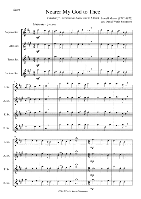 Nearer my God to Thee (Bethany) for saxophone quartet