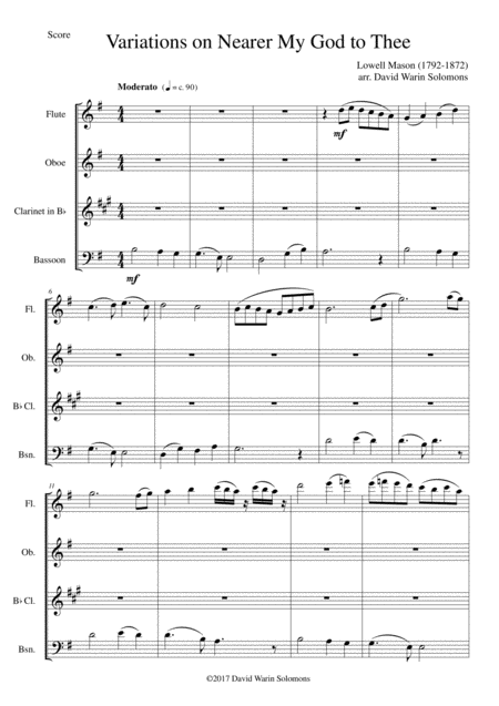 Variations on Nearer my God to Thee (Bethany) for wind quartet