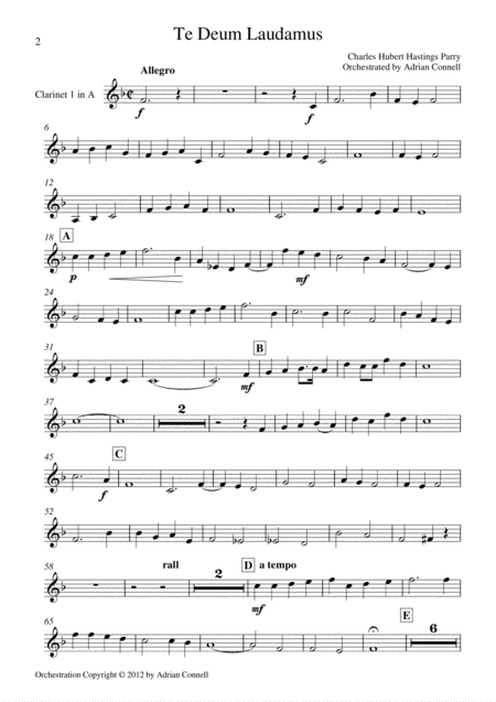 Parry - Te Deum Orchestrated by Adrian Connell - Clarinet 1 in A
