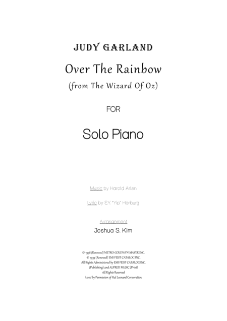 Over The Rainbow (in Hawaiian Style) for Solo Piano