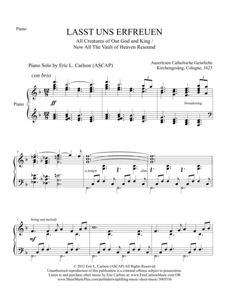 Now All The Vault Of Heaven Resounds - Piano Solo by Eric Carlson