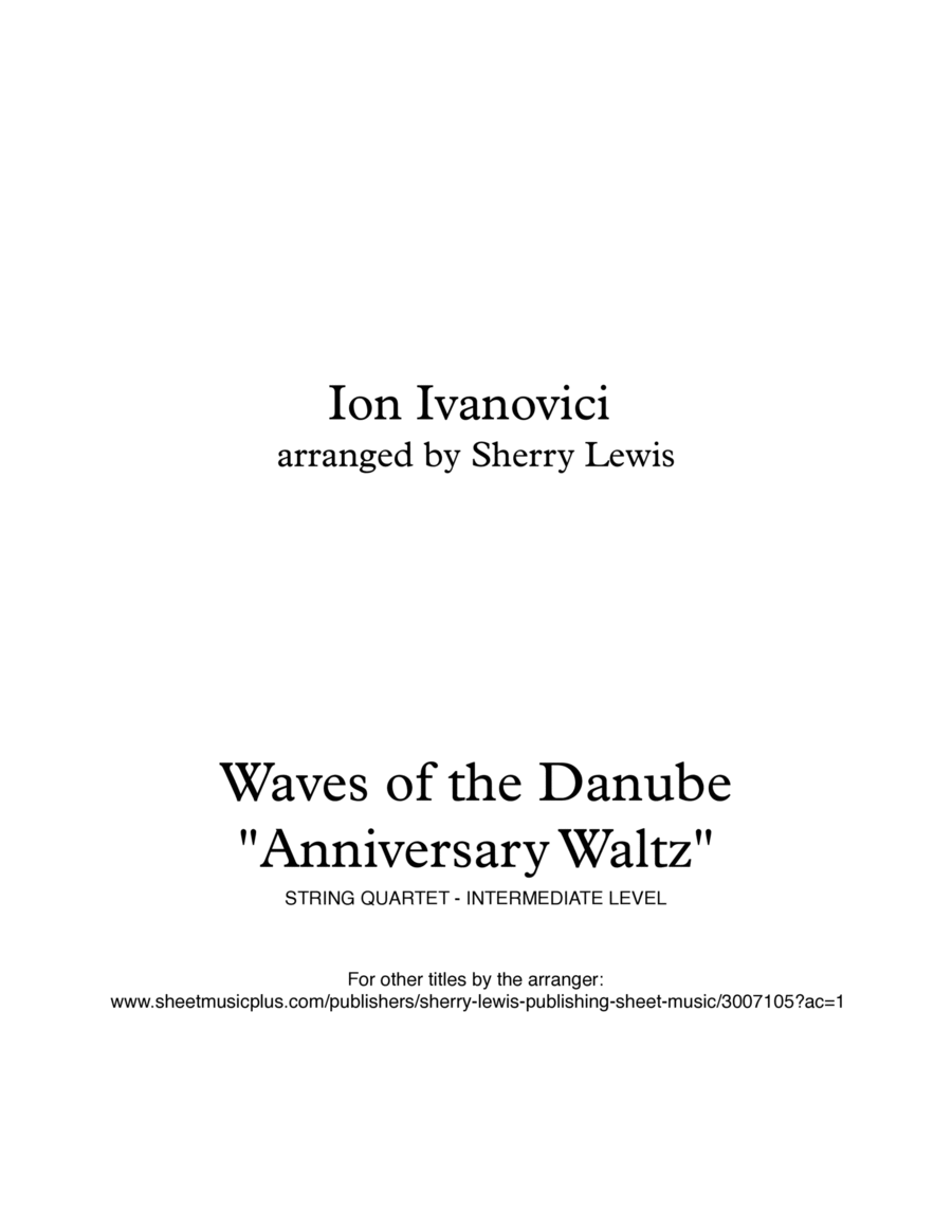 Waves of the Danube String Quartet, String Trio, String Duo, Solo Violin, String Quartet + string bass chord chart, arranged by Sherry Lewis