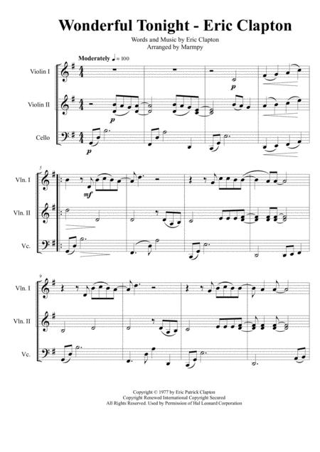 Wonderful Tonight - Eric Clapton (arranged for String Trio)