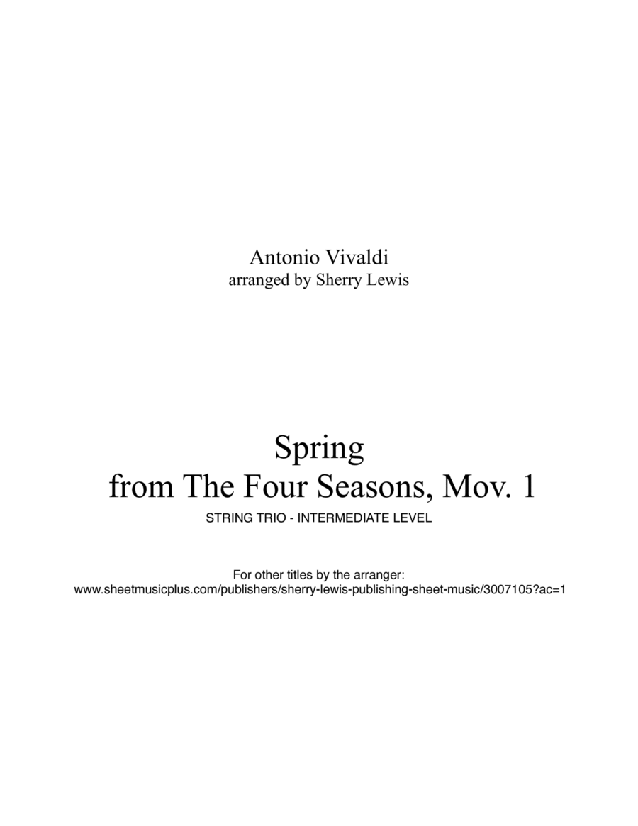 Spring from The Four Seasons for STRING TRIO