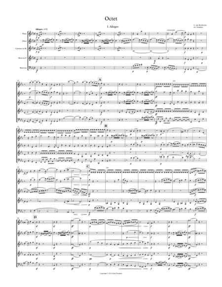 Wind Octet in Eb Major, Op. 103, arranged for Wind Quintet