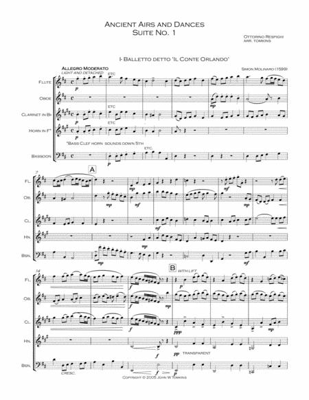 Ancient Airs and Dances, Suite No. 1. Arranged for Wind Quintet