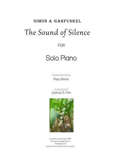 The Sound Of Silence for Solo Piano (Easy Piano)