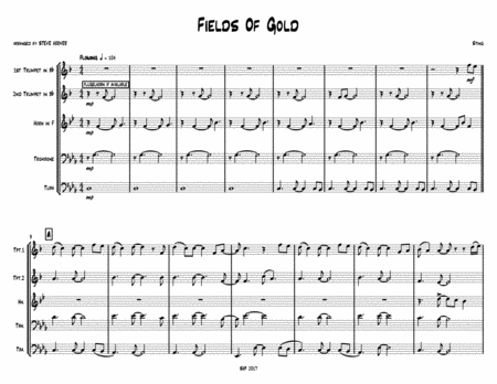 Fields Of Gold - STING - for BRASS QUINTET