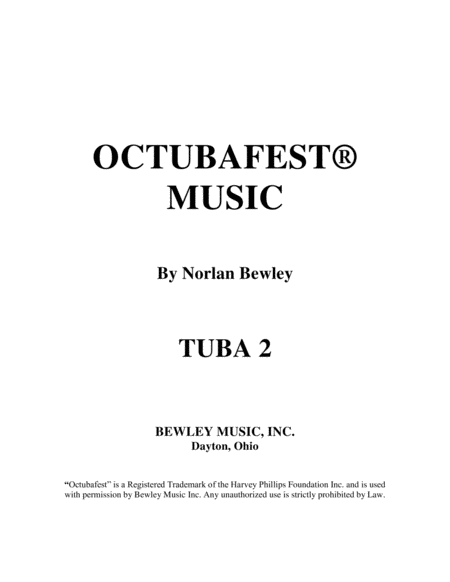 Octubafest Tuba 2 Bass Clef Part Book - Tuba/Euphonium Quartet