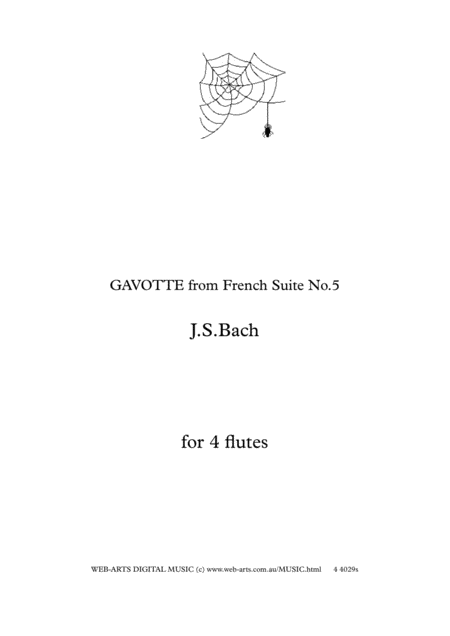 BACH GAVOTTE from French Site No.5  for 4 flutes