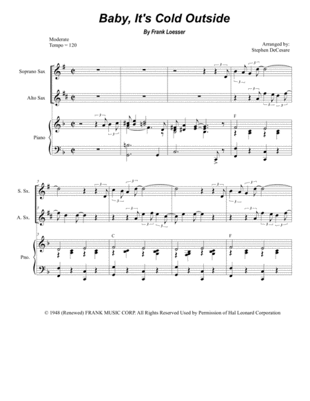 Baby, It's Cold Outside (Duet for Soprano and Alto Saxophone)