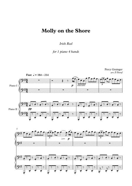 Percy Grainger - Molly on the Shore - 1 piano 4 hands, score & parts