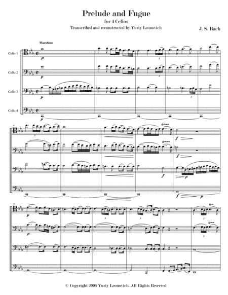 Bach - Prelude and Fugue for Cello Suite No. 5 for 4 cellos