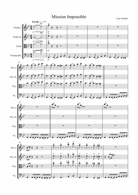Mission: Impossible Theme, Arranged for String Quartet (2xViolin, Viola and 'Cello)