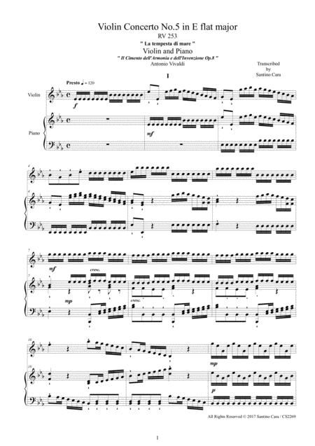 Vivaldi - Violin Concerto No.5 in E flat - La tempesta di mare - RV 253 Op.8 for Violin and Piano