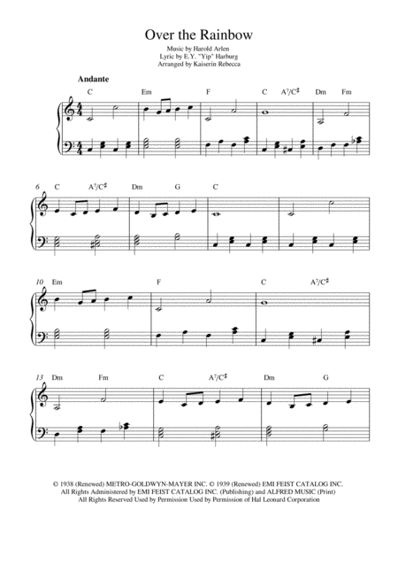 Over The Rainbow (from The Wizard Of Oz) (Easy version)