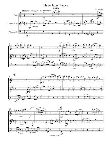 Three Jazzy Pieces for Flute, Clarinet and Cello