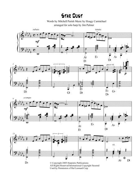 Stardust for harp solo