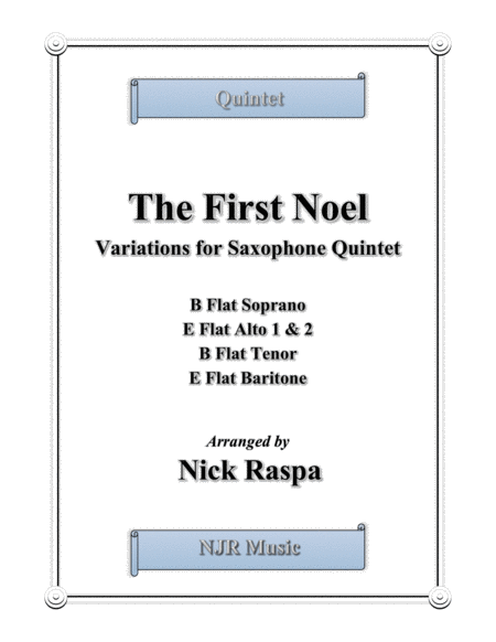 The First Noel (Variations for Sax Quintet) Score & parts