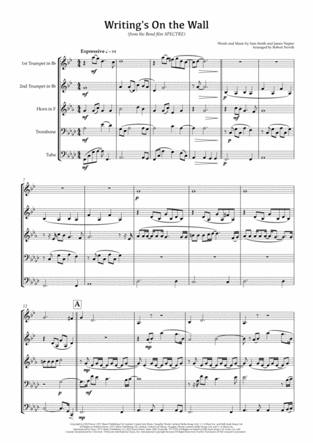 Writing's On The Wall (from SPECTRE) for Brass Quintet
