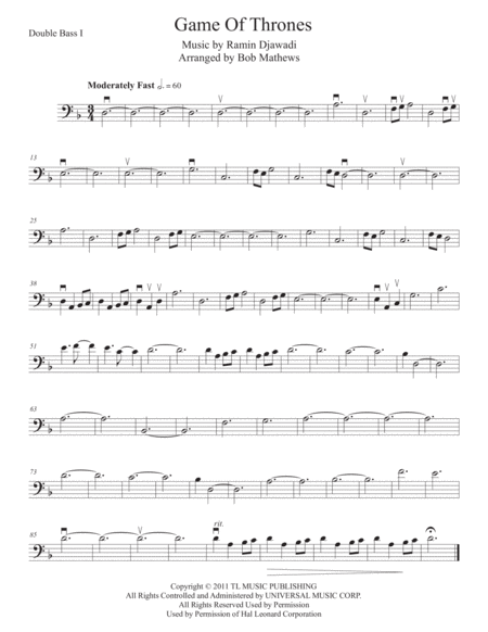 Game Of Thrones for Bass Solo