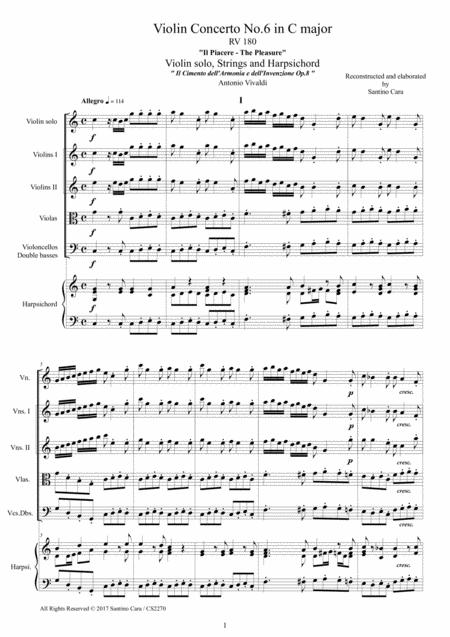 Vivaldi - Concerto No.6 in C major - Il Piacere - RV 180 Op.8 for Violin, Strings and Continuo