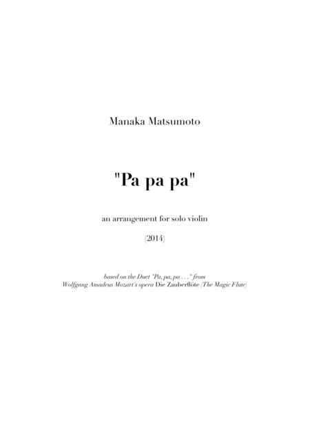 The Magic Flute - Pa pa pa (arr. for solo violin)