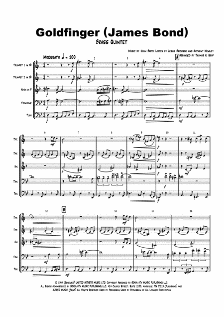 Goldfinger - James Bond - Brass Quintet