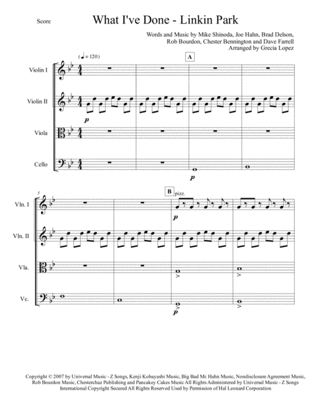 What I've Done - Linkin Park - Transformers - For Strings Quartet