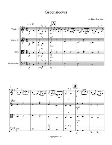 Greensleeves Easy String Quartet Arrangement