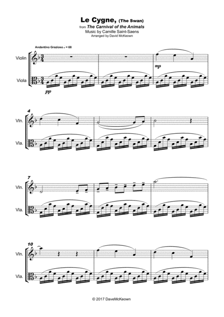 The Swan, (Le Cygne), by Saint-Saens, Duet for Violin and Viola