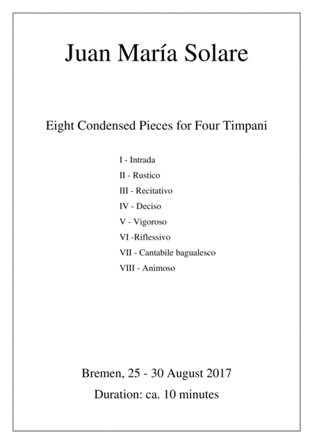 Eight Condensed Pieces for Four Timpani