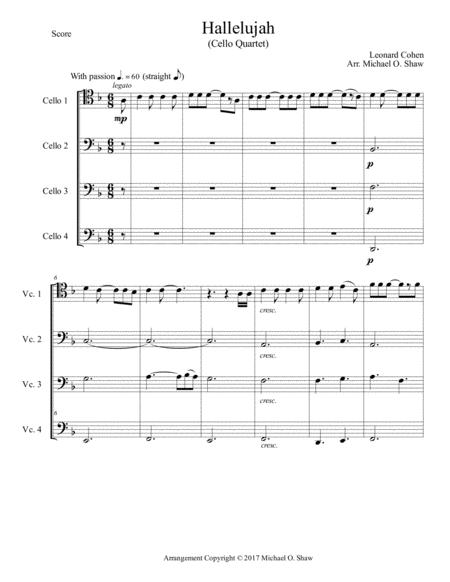 Hallelujah by Leonard Cohen for 4 cellos