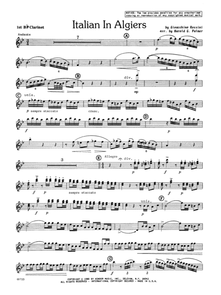 Italian In Algiers - 1st Bb Clarinet