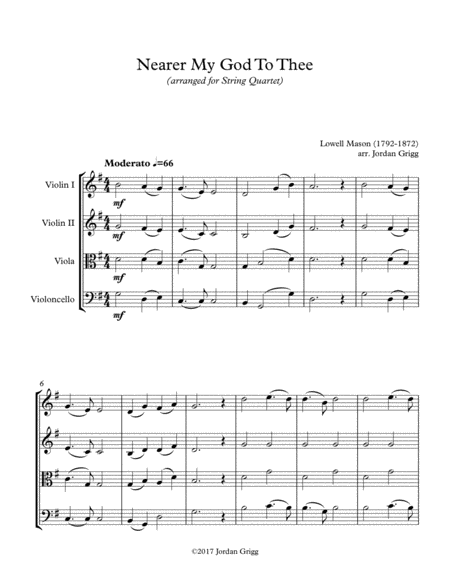 Nearer My God To Thee (String Quartet) Score and Parts