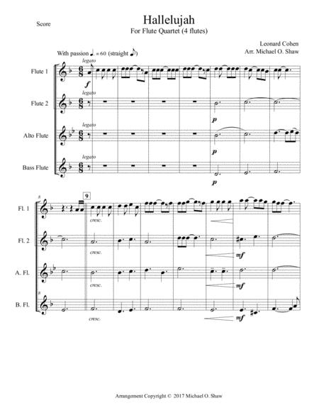 Hallelujah by Leonard Cohen for Flute Quartet (2 Flutes, Alto, Bass)