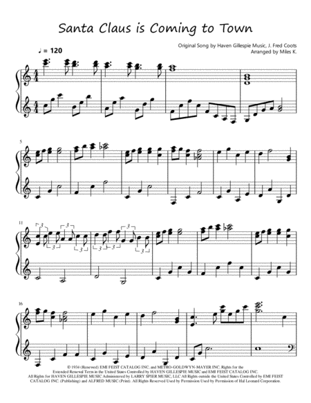 Santa Claus Is Coming To Town (Piano Solo)