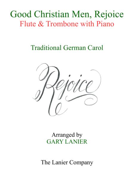 GOOD CHRISTIAN MEN, REJOICE (Flute, Trombone with Piano & Score/Part)