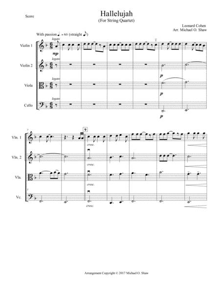 Hallelujah by Leonard Cohen for String Quartet