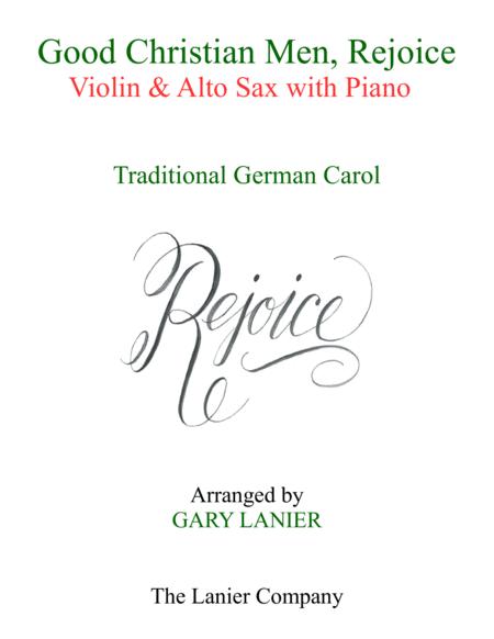 GOOD CHRISTIAN MEN, REJOICE (Violin, Alto Sax with Piano & Score/Parts)