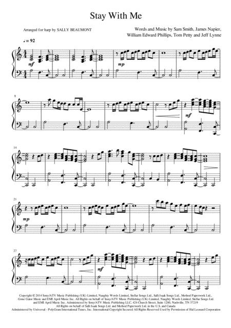 Stay With Me - Harp Arrangement