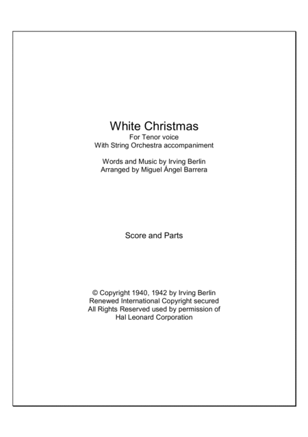 White Christmas For Tenor voice with String Orchestra accompaniment