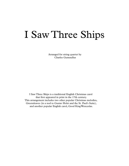 I Saw Three Ships - Christmas - String Quartet